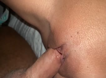 Closeup creampie is her shaved tight pussy